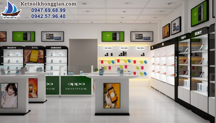 thiết kế cửa hàng điện thoại di động